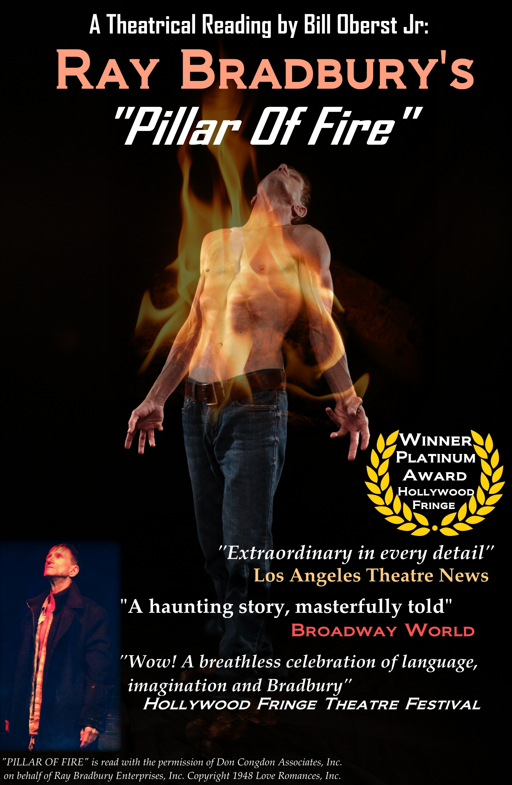 "Los Angeles Review: ""Do not miss Ray Bradbury's Pillar Of Fire – Oberst is riveting."""""